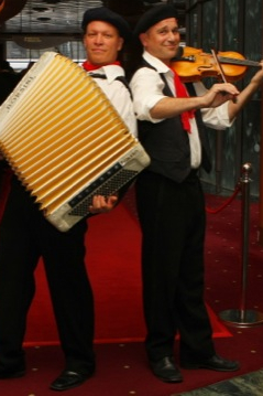 Accordion and violin  roving musicians